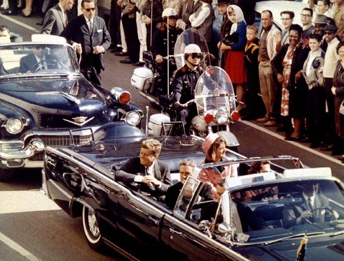 John F. Kennedy, kort voor het moment van de moord, in Dallas, Texas, 1963.