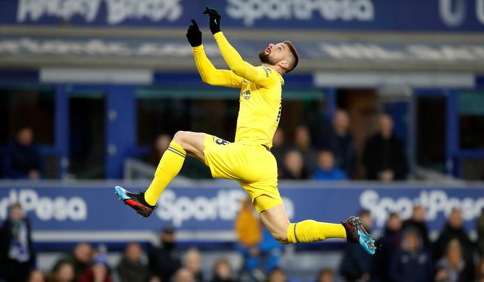 Olivier Giroud in actie voor Chelsea.