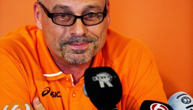 Chef de Mission Maurits Hendriks van de Nederlandse olympische ploeg blikt terug op de Olympische Spelen tijdens een persconferentie in het Holland House in Londen. Beeld anp