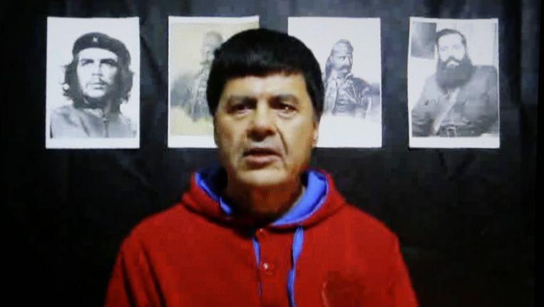 Christodoulos Xiros in het filmpje waarin hij zijn verklaring aflegt. Beeld ap