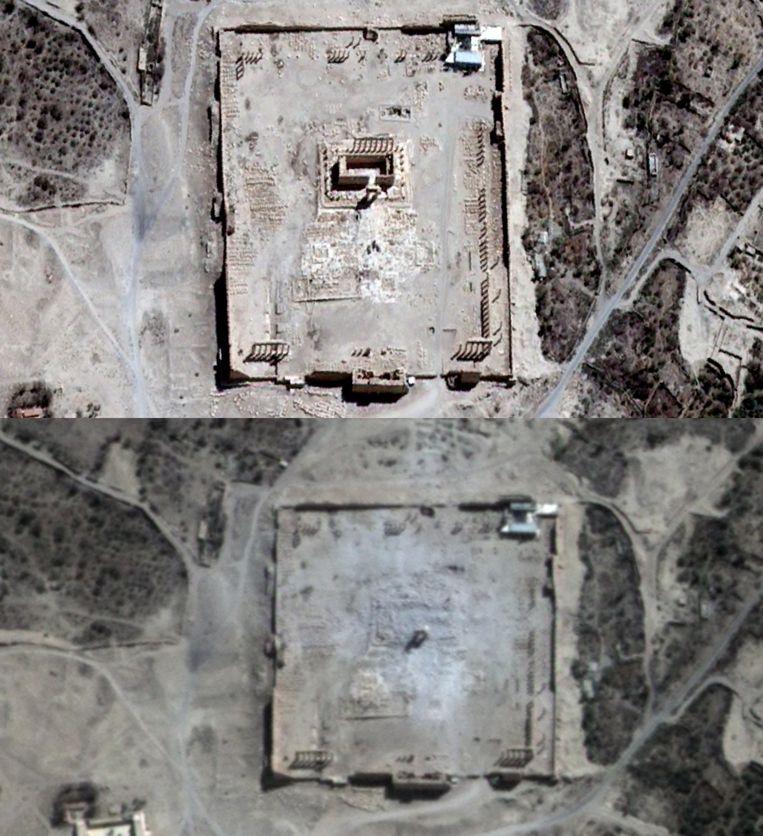 Op deze satellietfoto's is te zien dat de Tempel van Bel en andere zuilen zijn vernietigd. Beeld afp