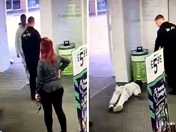Un agent de sécurité assomme un client à l'entrée d'un magasin