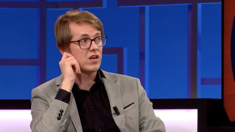 Mediafiguur Maarten Boudry in 'De ideale wereld'. Beeld VRT