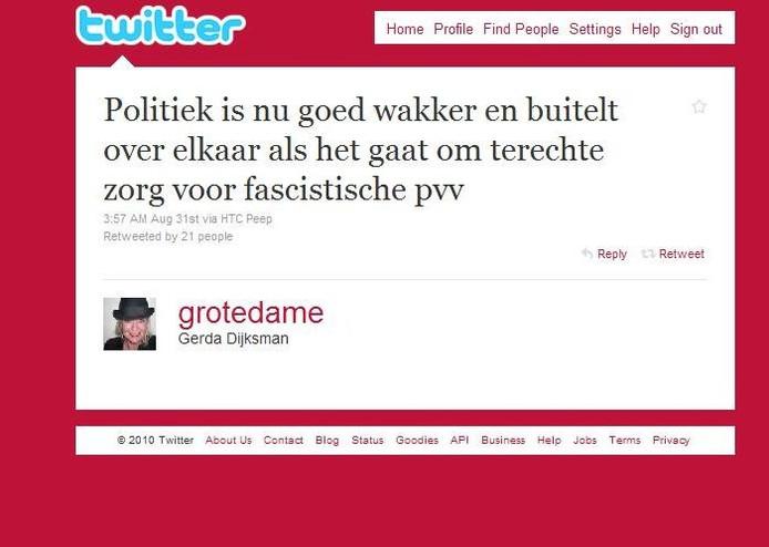 De tweet van Dijksman, districtschef van de politie Zuidwest-Drenthe in Hoogeveen.
