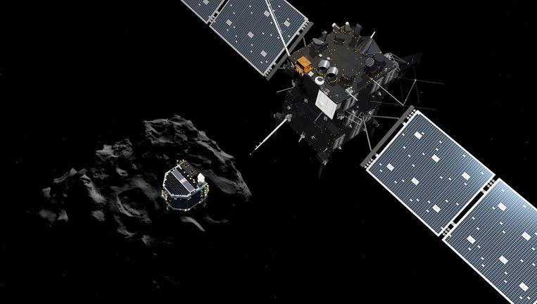 Een door de ESA geproduceerde verbeelding van komeetlander Philae (L) die zich losmaakt van moederschip Rosetta. Beeld anp