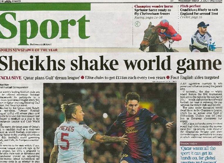 Het artikel uit The Times van vanmorgen. Beeld