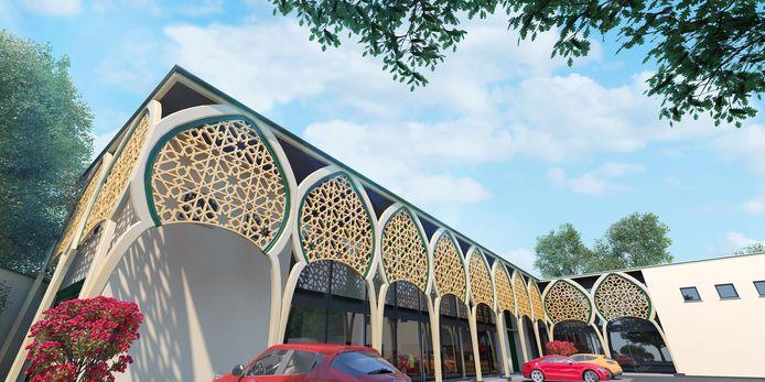 Een toekomstbeeld van de nieuwe moskee. Van het interieur zijn voorlopig nog geen simulatiebeelden vrijgegeven