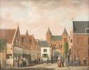 De Kamperbinnenpoort, vanaf de Kamp, geschilderd door Jordanus Hoorn