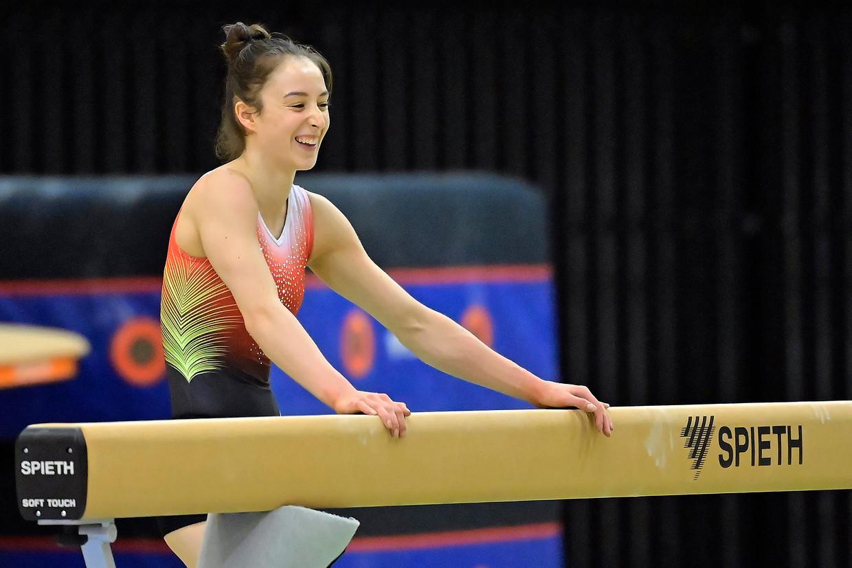 Nina Derwael in de turnhal in Mito. Beeld Photo News
