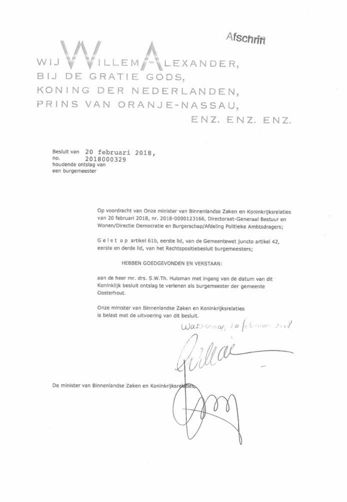 Printscreen afschrift Koning Ontslag Stefan Huisman