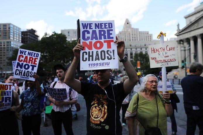 Eind vorige maand protesteerden New Yorkers tegen het inmiddels alweer afgeschoten Trumpcare.
