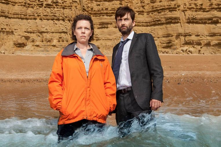 Olivia Colman en David Tennant in 'Broadchurch'. Beeld ITV