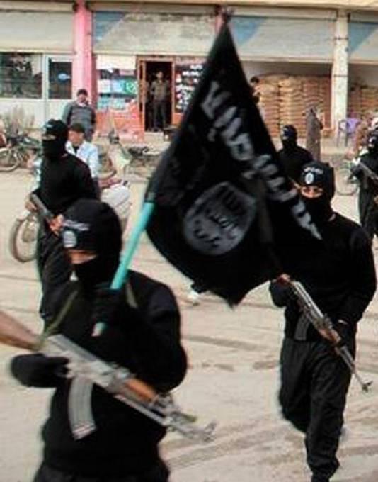 Strijders van Islamitische staat in het Syrische Raqqa in 2014.