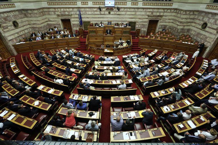 Stemming in het Griekse parlement. Beeld null