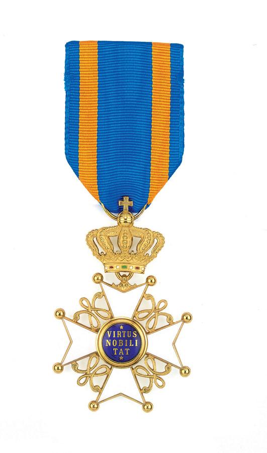 De koninklijke onderscheiding voor Ridder in de Orde van de Nederlandse Leeuw.
