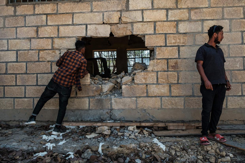 Een schooltje in Wukro, Tigray, werd begin maart totaal vernietigd bij beschietingen door troepen die de centrale Ethiopische regering steunen. De burgeroorlog in Tigray startte in november.  Beeld AFP