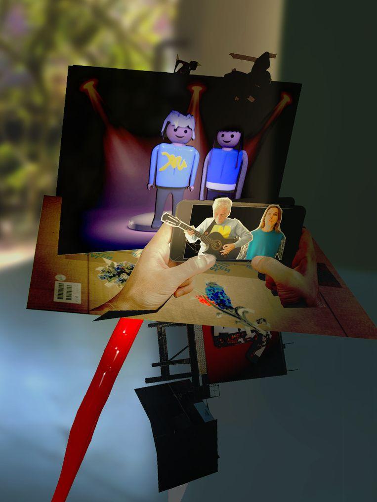 Beeld uit de Spinvis-app 'Alles Is', gemaakt door International Silence. Spinvis en Saartje Van Camp als Playmobilpoppetjes. Beeld Interational Silence