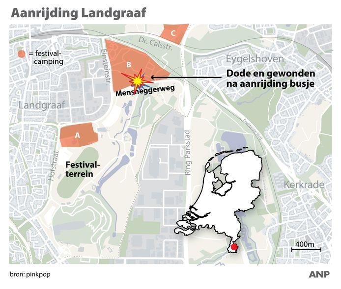 De aanrijding in Landgraaf vond plaats bij camping B van Pinkpop aan de Mensheggerweg. ANP INFOGRAPHICS