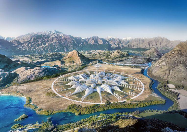 Het virtuele gebouw is een werk van de Franse architect Vincent Callebaut. Beeld Poppins & Wayne