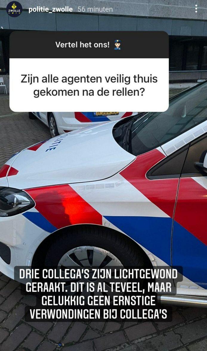 Bij een vragensessie via Instagram liet de politie Zwolle weten dat er drie agenten lichtgewond zijn geraakt.