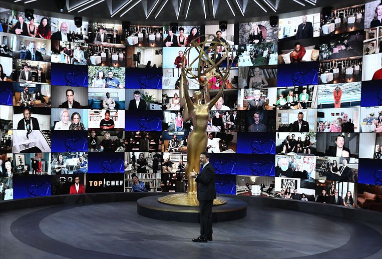 Jimmy Kimmel presenteert de 72e Primetime Emmy Awards ceremonie in Los Angeles, Californië. Beeld EPA