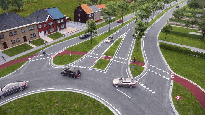 Tussen de rotonde en de Witte Brug wordt de N42 heraangelegd op het bestaande trace.