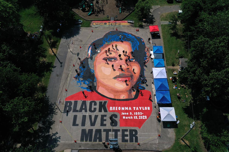 Een enorm werk in Annapolis, Maryland, eert Taylor als gezicht van Black Lives Matter. Beeld Getty Images