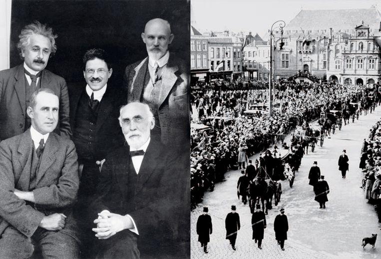 Links de grote vijf in de natuurkunde in 1923: Einstein, Eddington, Ehrenfest, Lorentz (rechtsonder) en De Sitter. Rechts de rouwstoet op 9 februari 1928 bij Lorentz' uitvaart. Beeld NHA / Rijkmuseum Boerhaave