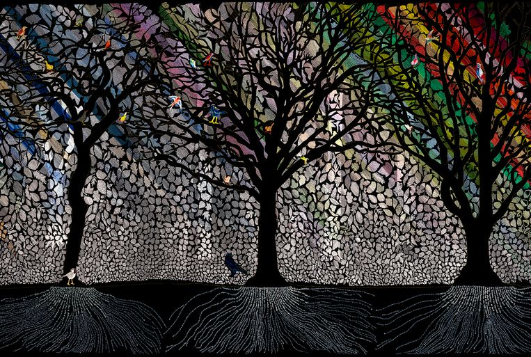 Deel van het kunstwerk '100.000 bomen, een bos van draad' © Sara Vrugt - foto studio vruGt Beeld Rogier Chang