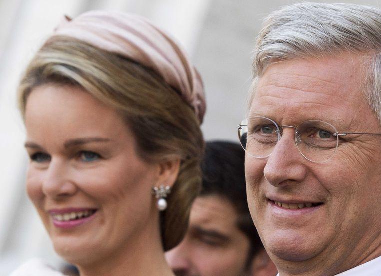 2013-07-21 BRUSSEL - Prins Filip en prinses Mathilde verlaten de Sint-Michiels- en Sint-Goedelekathedraal. ANP ROYAL IMAGES ROBIN UTRECHT Beeld ANP