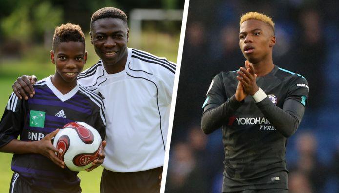 Links: zoon en vader Musonda toen de jongeling nog bij Anderlecht voetbalde. Rechts: Musonda in het shirt van Chelsea