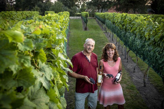 Henk en Marian Masselink tussen de wijnranken van wijngaard Adebaer in Geesteren. Adebaer betekent 'hij die geluk brengt'.