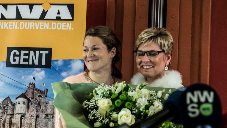 Anneleen Van Bossuyt en Elke Sleurs tijdens de nieuwjaarsreceptie in Gent begin dit jaar.