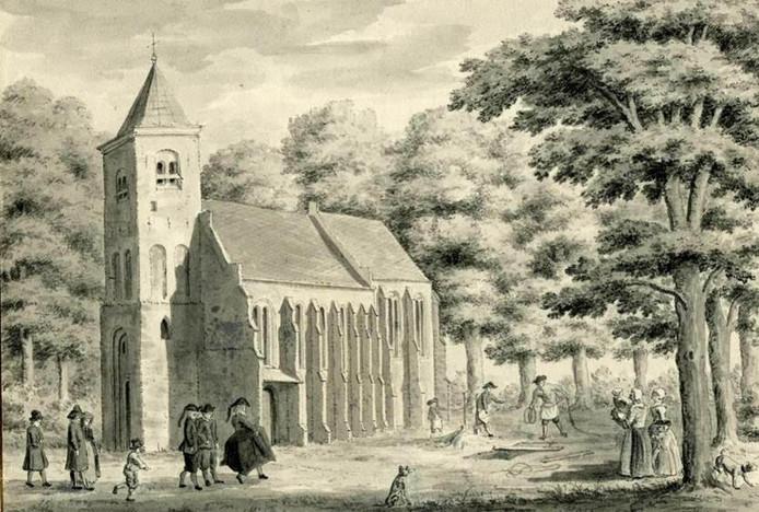 Gezicht op de Nederlands Hervormde kerk in Zeist tijdens de begrafenis van een kind.