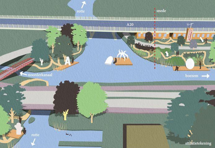 Zo zou de Rotte bij de stadsentree in Rotterdam-Crooswijk er straks uit kunnen gaan zien, volgens het voorstel 'De Beeldenro(u)tte'.