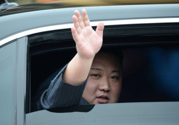 Kim Jong-un vandaag in Vietnam. Beeld REUTERS