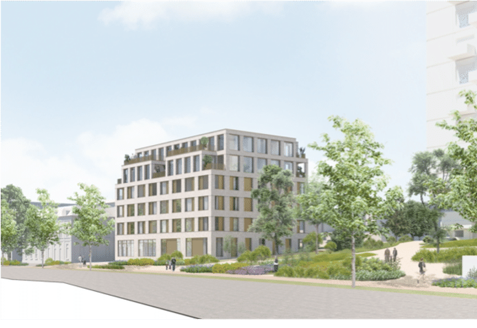 Schets van het woonzorgcomplex dat bij High Park aan de Velperweg in Arnhem moet verrijzen.