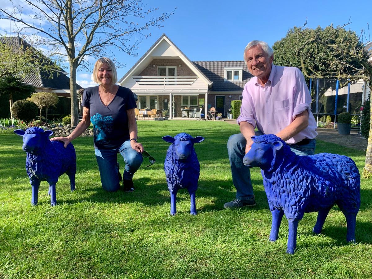 In het groene gazon van Bernhard de Gijt en zijn vrouw Janny van Leerdam (beide 74) vallen ze best op: de blauwe schapen.