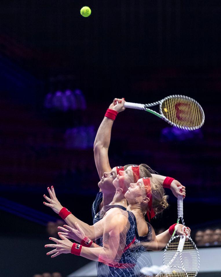Kiki Bertens tijdens de WTA Finals in Shenzhen. Beeld EPA