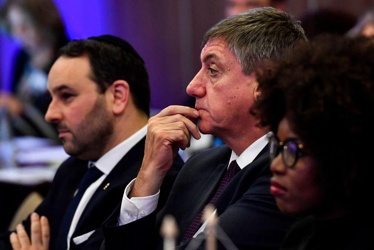 Kamerlid Michael Freilich, Vlaams minister-president Jan Jambon en Europees parlementslid Assita Kanko. Beeld BELGA