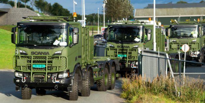 De uitlevering van de Scania Gryphus 8x8 voertuigen aan Defensie. Dit is een archieffoto.