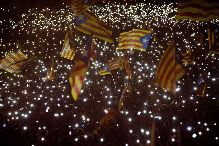 Honderdduizenden kwamen op 25 september in Barcelona op straat om de onafhankelijkheid te eisen. Beeld AP
