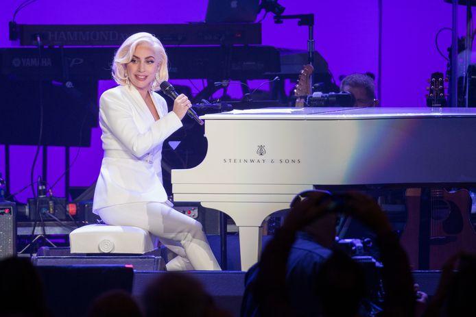 Lady Gaga tijdens een benefiet concert in de Amerikaanse staat Texas