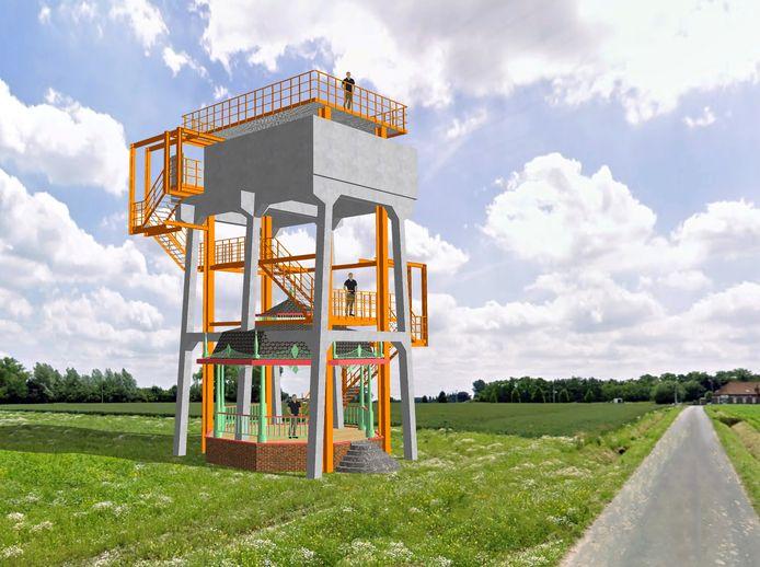 Een conceptbeeld van hoe Izegem en kunstenaar Elias Cafmeyer de uitkijktoren zien, maar Westtoer vindt dat die te dicht bij de snelweg staat.
