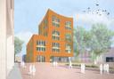 Impressie van het 'waaggebouw' dat op het Celsiusplein in Woensel-West, Eindhoven moet komen te staan, als sluitstuk van de stadsvernieuwing door corporatie Trudo. Op de begane grond is plaats voor buurtvoorzieningen, boven voor appartementen.