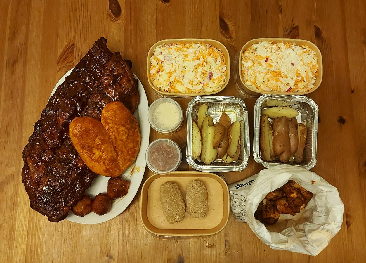Een overzichtje van onze bestelling bij Dad's BBQ Place.