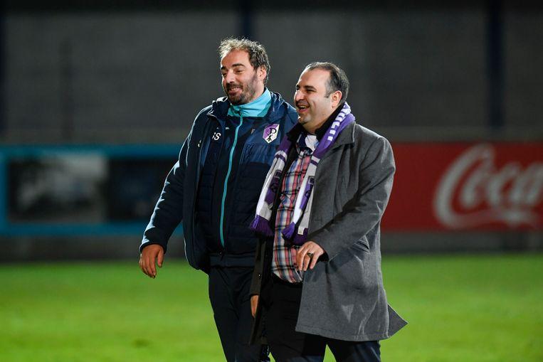 Coach Stijn Stijnen en voorzitter Salar Azimi.   Stijn Stijnen en de voorzitter van Patro Eisden Maasmechelen vieren de zege. (FOTO GOYVAERTS/GMAX AGENCY)