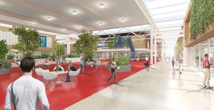 Een artist's impression van het Atrium van de Brainport Industries Campus (BIC) in aanbouw.