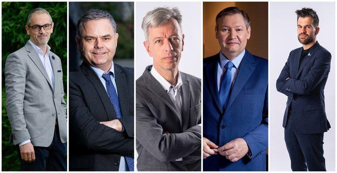 Van links naar rechts: Michel Maus, Pascal Paepen, Geert Noels, Paul D'Hoore en Stijn Baert.