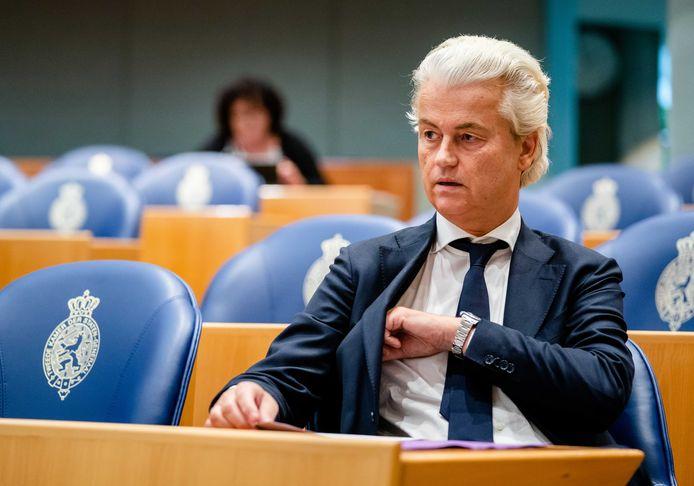 Geert Wilders (PVV) tijdens het wekelijkse Vragenuur in de Tweede Kamer.